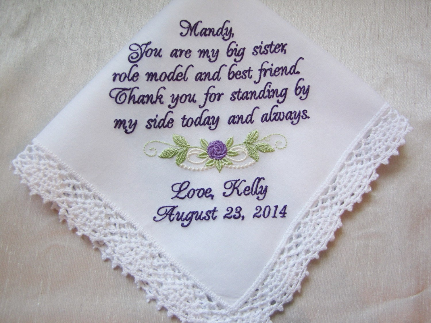 Sister wedding handkerchief embroidered