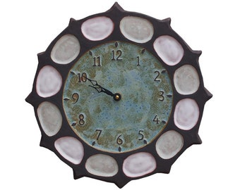 Nautical Wheel Ceramic Art Wall Clock in Dark Brown, Turquoise & White (13 inches in diameter)