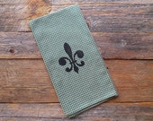 SALE -- Fleur de Lis Vintage Style Hunter Green Check Towel