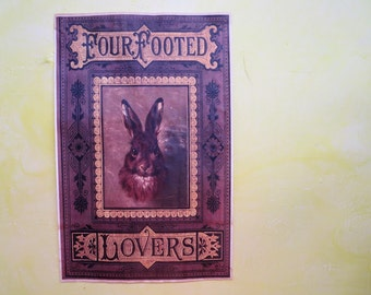 Four Footed Lover Rabbit Aged Decorative Paper - Vintage Reproduction - 11 x 17