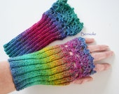 Rainbow knitted gloves with lace crochet trim, N273