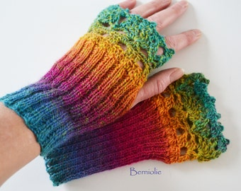 Rainbow knitted gloves with lace crochet trim, N274