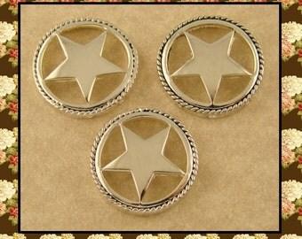2 Hole Beads Silver Lone Stars ~Texas~Equestrienne~Western~Cowboy~Horse ~ Metal Sliders QTY 3     (SKU 500684647)