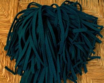 80 Hand  Dyed  Wool Rug Hooking Strips Azure Blue Green