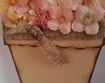 Handmade Peach burlap flower pot card