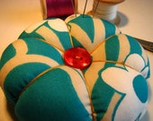 Flower pincushion - turquoise flowers