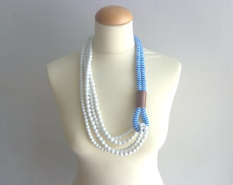 Turquoise white long statement necklace, multi strand necklace