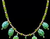 Green Egyptian Scarabs & Peridot Necklace