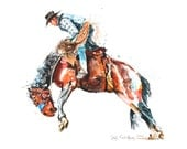 Watercolor artwork of cowboy  - Painting of western bronco rider - giclee from original