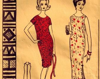 Vintage 50's Hawaiian Dress Pattern, Muu Muu, Short or Long, Side Slits, Scoop Neck, Polynesian 143, Size 8 Bust 30 1/2