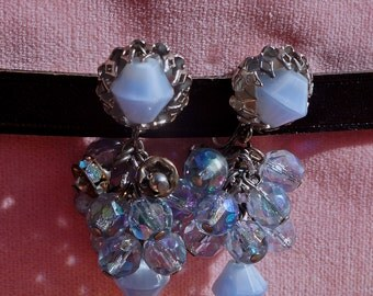 Beautiful Vintage Blue Chandelier earrings.