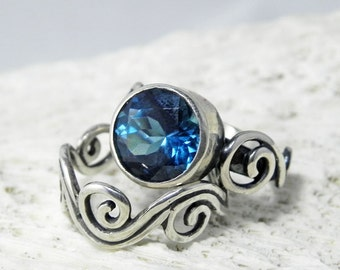 London Blue Topaz Ring - Gemstone Alternative Engagement Ring - Sterling Silver Blue Topaz Ring - Caribbean Blue Gemstone Silver Swirl Ring