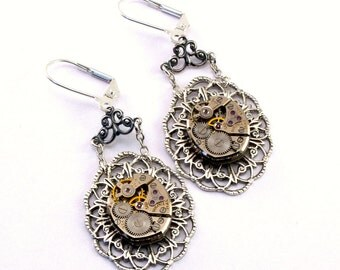 Steampunk Earrings Silver Bulova Steam Punk Watch Movement Steampunk Wedding Clockwork Steampunk Jewelry designed by London Particulars
