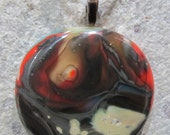 Fused Glass Pendant with ribbon necklace:  Dark and Dreamy Reaction