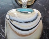 Fused Glass Pendant with ribbon necklace: Swag Reaction