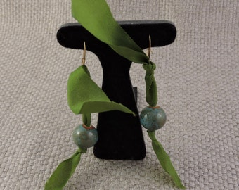 Turquoise and Olive Ribbon Earrings
