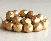 25 Matte Gold 6mm Faceted Rounds - Czech Glass Beads