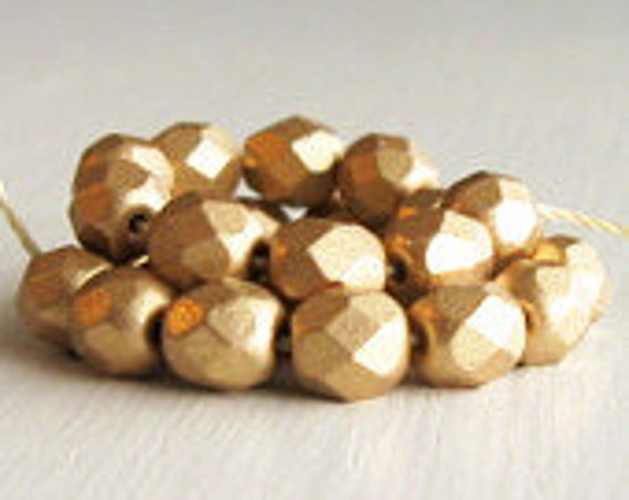 25 Matte Gold 6mm Faceted Rounds - Czech Glass Beads