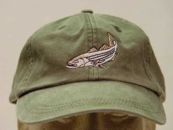 Striped Bass Hat One Embroidered Striper Fish Wildlife Cap