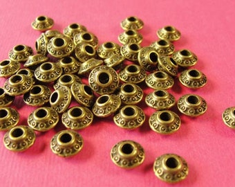 50 pcs Antiqued Bronze Spacer beads, Donut Rondell Spacer Bead, 6.55x4mm Sp1003