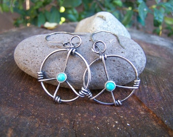 Hand wrapped sterling silver and turquoise peace sign earrings