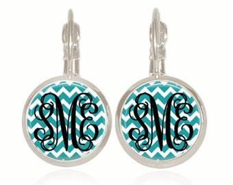 Monogram Earrings, Chevron Earrings, Gift For Her, Sorority Gift, Initial Earrings, (Black On Teal Chevron - Drop Style Earrings)