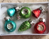 Reserved fpr Moni Festive Mercury Glass Extra Tiny Teal, Green and Red Ornaments - Gift Set of 6 Miniature Christmas Feather Tree Indents