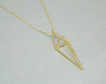 Gold Geometric Spike Pendant and 18 inch chain - Free Shipping in the USA