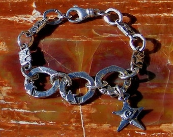 Artisan Jewelry Artisan Star Links Handcrafted Artisan Sterling Silver Bracelet