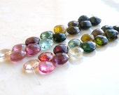 Outstanding Tourmaline Gemstone Briolette Faceted Heart Multi Pink Green Yellow 8 to 9mm 14 beads
