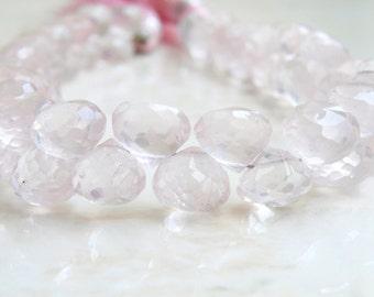 Rose Quartz Briolette Gemstone Pink Faceted Onion Bead 7.5mm 23 beads 1/2 Strand
