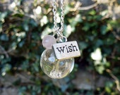 Dandelion seed necklace, Make a Wish flower necklace, Rose Quartz pink gemstone necklace