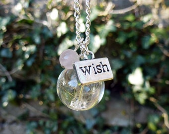 Dandelion seed necklace, Make a Wish flower necklace, Rose Quartz pink gemstone necklace