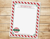 INSTANT DOWNLOAD (Digital) Santa's Workshop Stationary - North Pole Letterhead from The Elf Villiage - Red, Green, Stripes