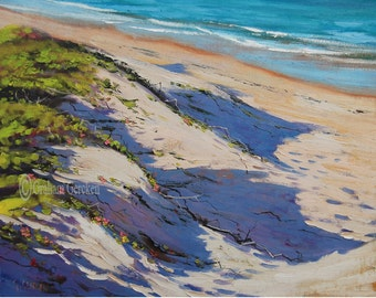 BEACH OIL PAINTING  Impressionist Seascape by G. Gercken