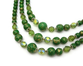 Green and Gold Beaded Necklace - Triple Strand 1960s
