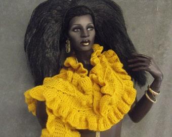 Accessory,Hand Crochet Scarf,Crochet Wrap,Yellow Scarf,Long Scarf,Wide,Ruffles,Women