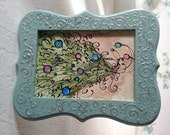 Natural Decorated Christmas Tree original painting - coffee, watercolor teal and silver frame