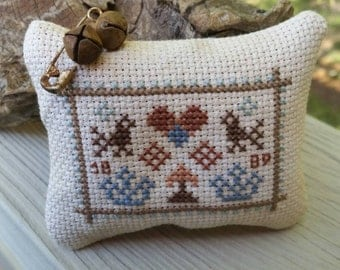 Mini Sampler Birds, Crowns, and Heart Cross Stitch Pinkeep/Pincushion Ready To Ship