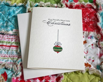 Handpainted Watercolor Christmas Card, Holiday Card, with Ornament