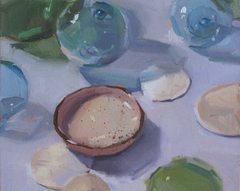 "Art painting still life glass floats ""The Speckled Dish"" by Oregon artist Sarah Sedwick 10x10"""