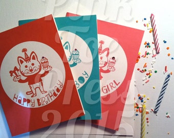 Happy Birthday: Birthday Card with Cat for boys or girls