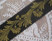 3 Yards Metallic Trim Jacquard Ribbon 1 3/8 Inches Wide Black And Gold #071