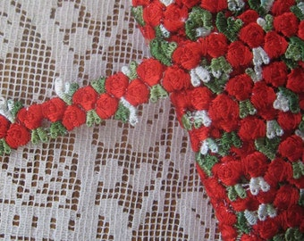 2 Yards Red Rosebud Venise Lace Edging Trim  Trim B