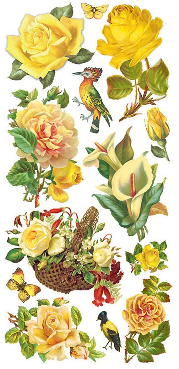 Self adhesive yellow roses stickers 1 sheet colorful for Rose adesive