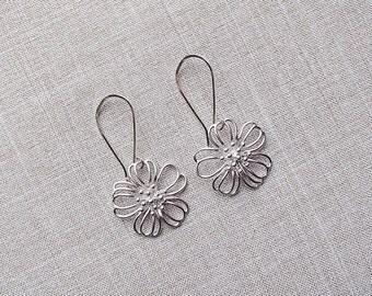 Silver Flower Blossom Earrings