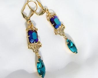 Peacock blue Earrings, Swarovski zircon and vintage jet ab dangles