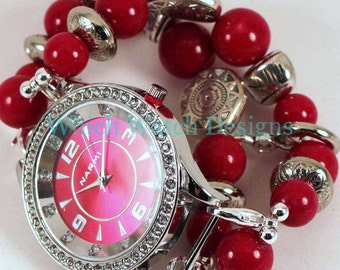 Red Stone.. Red Jade and Silver Plated Interchangeable Beaded Watch Band