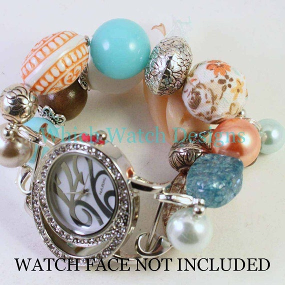 SALE Shabby Chic Sunset Beach.. Aqua, Peach, Orange, Brown and White Interchangeable Beaded Watch Band