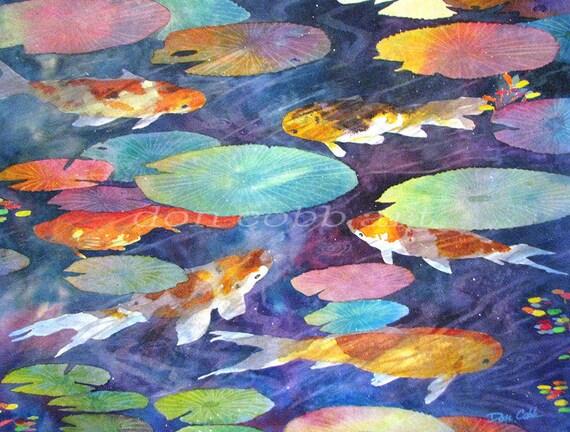 Original watercolor painting koi fish art koi fish for Koi fish pond art
